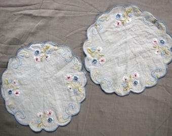 vintage embroidered doilies - sheer with pastel floral detail - matching pair