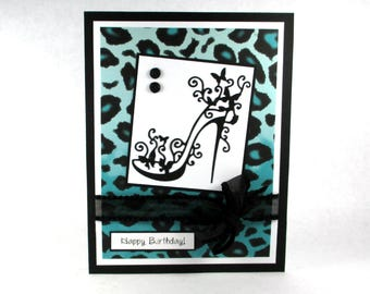 Birthday card, high heel shoes, leopard print, cheetah, teal and black, PERSONALIZED card, 21st birthday, 30th birthday, 40th birthday