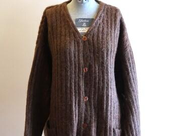 Brown 1990s MOHAIR cardigan sweater by Express sz. Medium / Large