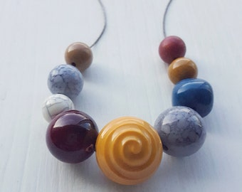 oarsman necklace - remixed vintage beads - lucite - mustard wine slate teal grey