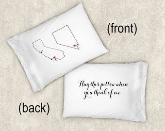Hug this Pillow, Long distance relationship boyfriend gift, Personalized pillow case for couple, Standard king pillow case, Two states love
