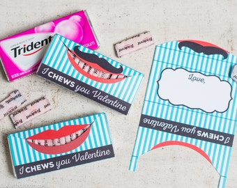 Lips Valentine I CHEWS you Valentine for Trident chewing gum cute bubble gum valentine's day gift for older kids mustache and red lips