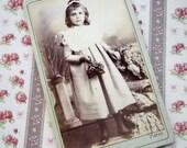 Antique French Carte de Visite, Victorian flower girl, Paris girl photograph, Antique pretty girl photo, Antique Paris girl CDV