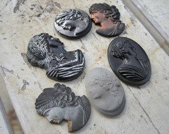 Vintage cameo lot, Vintage glass cameo lot, Vintage stone cameo lot, Cameo lot, black cameo, Carved cameo lot,