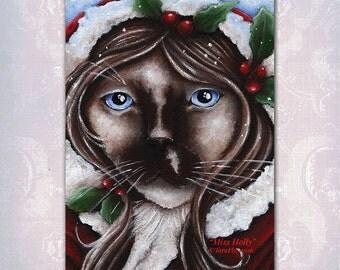 Ragdoll Cat, Holly Christmas Fantasy Art 5x7 Fine Art Print