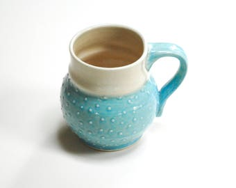 Teal dot teacup,polka dot mug cup,pottery teal mug,turquoise mug cup,stoneware dot cup,coffee tea mug cup,