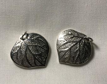 5% Off Shop Sale.  ASPEN LEAF Charm Pendant, Large, Sterling Silver, 1 pc, 24x20 mm, fall autumn woodland nature art only jj