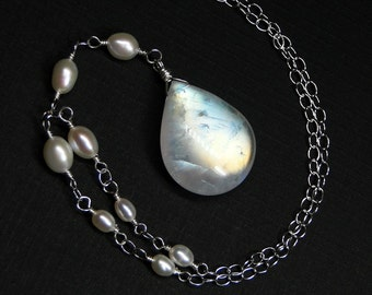 Moonstone Necklace, Rainbow Moonstone, Pearl, Sterling Silver - Aurora by CircesHouse on Etsy