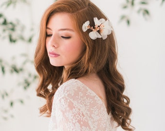 Rose gold floral hair comb, chiffon headpiece, bridal hair comb, wedding - Style 3006