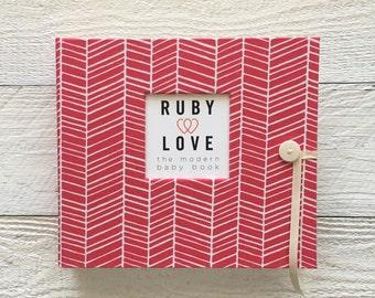 Hot Pink Herringbone | BABY BOOK