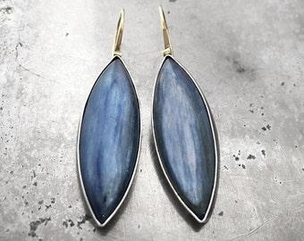 Kyanite elongated earrings with 14k green gold earwire