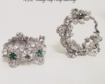 Vintage KJL Earrings Emerald Clear Crystal Hoop Earrings 1960s to 1970s Kenneth Jay Lane Clip On Green Clear Hoop Earrings