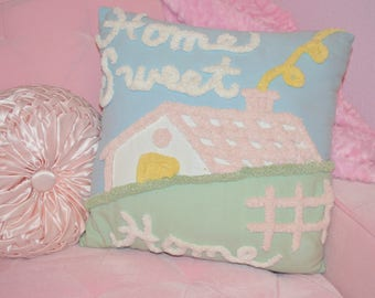 HOME SWEET HOME, vintage chenille pillow with fabulous graphics and sweet pastel colors!