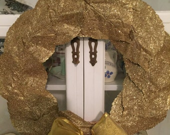 oRIGINAL~uNIQUE~fABULOUS~GOLD~gLITTERED~LEAF~WREATH~cHRISTMAS~oR~aNYTIME~