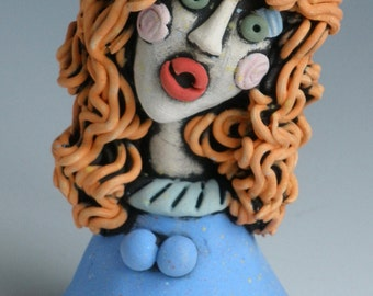 Clay Sculpture, FEMALE SCULPTURE, Blue and Orange, HANDMADE, Clay Sculpture, Sculpted Figure, Clay Figurine, Clay People, Clay Sculpture