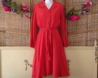 Vintage 70's Secretary Day Dress Red Polka Dot Full Skirt Tie Belt Size 8 Medium