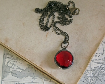 Faceted Round Stained Glass Long Necklace Red Jewelry