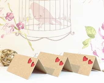 Heart Wedding Place Cards -  recycled kraft card - rustic cutout design - guest seating cards - square corners