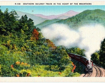 Vintage North Carolina Postcard - A Southern Railway Train in the Mountains (Unused)