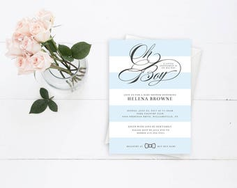 Oh Boy Blue and White Striped Elegant Baby Shower Invitation with A Little Gentleman is On His Way in Bold Calligraphy Text