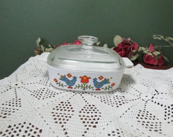 Corning Ware Country Festival Friendship 1 Quart Covered Casserole 1975