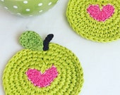 Crochet Coasters - Apple Coasters - Heart Coasters - Mothers Day Gift - Wedding Gift - Housewarming Gift - Rustic Kitchen Decor