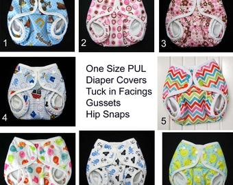 PUL Diaper Cover, Boy Diaper Cover, Girl Diaper Cover,  Front Snaps, Gussets, One Size Diaper Cover with Optional Tuck in Facings