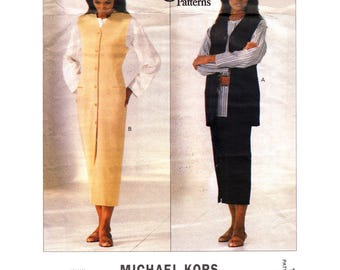 Button Front Jumper Vest Skirt Top Pattern Vogue 1184 Michael Kors Designer Plus Size 18 20 22