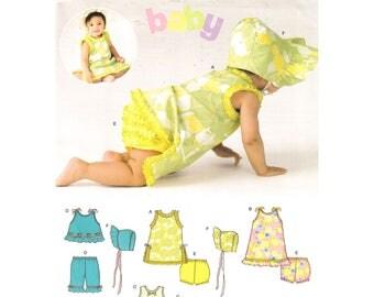 Baby Girls Top & Ruffle Panties Pattern Summer Sunsuit New Look 6394 Crop Top Shorts Sunhat Bonnet Infant Sewing Pattern Size NB S M L Uncut