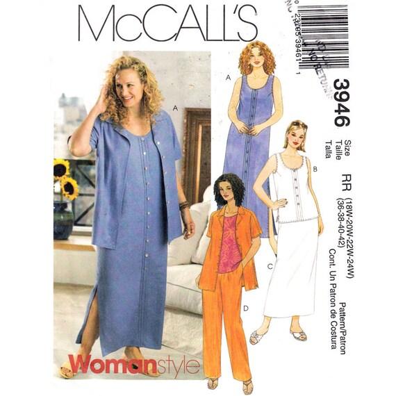 Scoop Neck Dress Shirt Top Pants Skirt Pattern McCalls 3946 Womens Plus Size 18 to 24