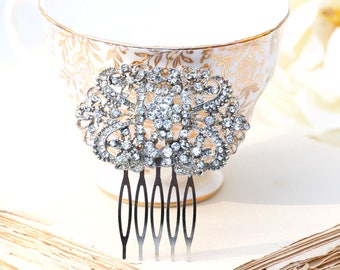 Rhinestone Hair Comb, Silver Hair Comb, Bridal Headpiece, Crystal Rhinestone Hair Comb, Art Deco, Downton Abby, Victorian Wedding