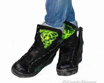 CUSTOM SNEAKERS / Personal order / Platform sneakers Cyberpunk  Cybergoth  Post apocalyptic  Futuristic Biohazard Radiation Infected Gasmask
