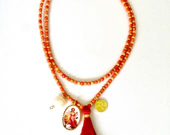 Durga necklace for strength and courage, faceted coral necklace, crystal energies, durga necklace, hindu goddess necklace, strength necklace
