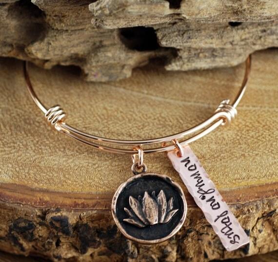 Personalized Lotus Bangle Bracelet, Charm Bracelet, No Mud No Lotus Bracelet, Rose Gold Lotus Bracelet, Yoga Bracelet, Gift for Yogi