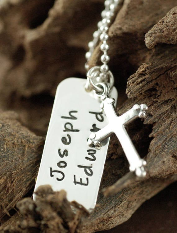 Baptism Necklace, Silver Cross Name Necklace, Confirmation Name Necklace, Silver Dog Tag, Mommy Jewelry, Silver Cross, Small Name Tag