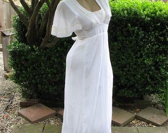 1970's Vintage Jerri of California Cotton Gauze Summer Festival Dress~Bridal~M