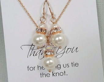 Rose Gold Bridesmaid Jewelry Set, White Pearl Bridesmaid Jewelry Set, Maid of Honor Gift, Rose Gold Bridesmaid Jewelry