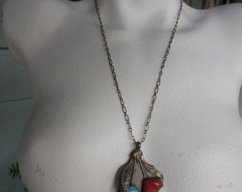 Vintage Southwestern Sterling, Coral & Turquoise Pendant Necklace