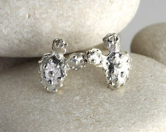 Silver Prickly Pear Earrings - Succulent Cactus Earrings in Sterling Silver
