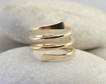 Smooth coiled gold spiral ring in yellow or rose gold fill, knuckle ring