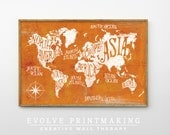 Large Wall Art. World Map Print. Limited Edition. Kids Room. Boys Room. Orange Map. Vintage Rustic. Map Illustration. Office Wall Decor