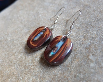 Boulder Opal earrings - burgundy red, brown earthy precious stone jewelry -  handmade in Australia by NaturesArtMelbourne - cat eyes