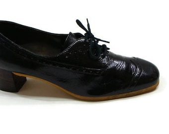 Vintage Patent Leather Brogues Vintage Jet Black Patent Leather Brogues Vintage Womens Brogues Black Patent Ladies Brogues Vintage Heels