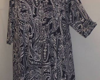 Plus Size Tunic, Coco and Juan, Plus Size Asymmetrical, Tunic Top, Navy, White, Paisley, Traveler Knit Size 1 (fits 1X,2X)   Bust 50 inches