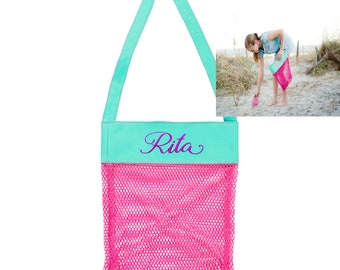 Personalized Beach Bag, Seashell Bag, Sea Shell Bag, Mesh Beach Tote, Kids Beach Bag, Kids Shell Bag, Kids shell Tote, Personalized Kids Bag