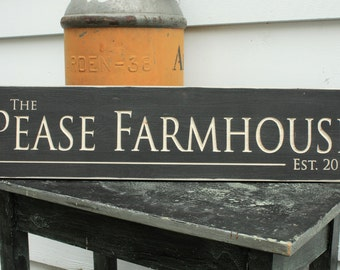 Personalized Family Name Farmhouse Last Name with Date Wedding Home Decor Wooden Sign - 8x30 Carved Engraved Handpainted Rustic Wooden Sign