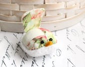 Pink and Green Floral Bird Pincushion Pin Keep Small Pin Cushion Handmade Pincushion