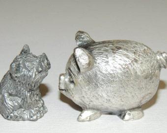 2 Miniature Pewter Pig figurines