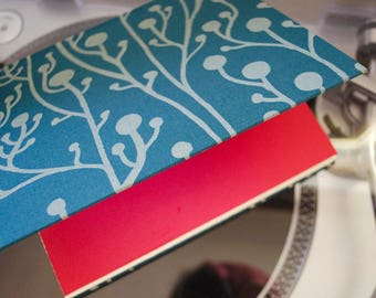 Basic Beautiful Hardcover Sketchbook - Teal and White Vine Pattern with Red End Paper