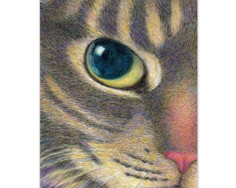 cat art print - A Cat With Smart Eyes - tabby cat drawing pet portrait, cat lover's gift, painting cat print, A3 print A4, 8x10 print 6x8
